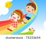 kids sliding on a rainbow | Shutterstock .eps vector #75253654