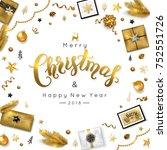 christmas lettering greeting... | Shutterstock .eps vector #752551726
