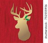 christmas deer on red wood | Shutterstock .eps vector #752555956