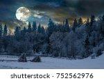beautiful night in winter.... | Shutterstock . vector #752562976
