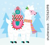 christmas llama with presents | Shutterstock .eps vector #752563498