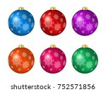 set of six multicolored... | Shutterstock .eps vector #752571856