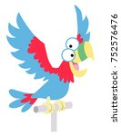 cartoon parrot. perch on... | Shutterstock .eps vector #752576476
