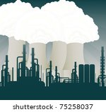 Nuclear power station cooling towers illustration - stock vector