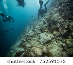 divers diving on a coral wall | Shutterstock . vector #752591572