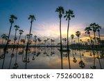 beautiful sunset reflection of... | Shutterstock . vector #752600182