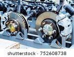 Waiting for assembly of the car brake system - stock photo