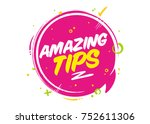 amazing tips vector pink bubble ... | Shutterstock .eps vector #752611306