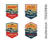 set of colored old retro style... | Shutterstock .eps vector #752629846