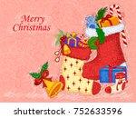 vector design of santa stocking ...   Shutterstock .eps vector #752633596