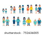 people generations in a flat... | Shutterstock .eps vector #752636005