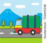 truck vector cartoon  coloring... | Shutterstock .eps vector #752645248
