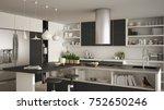 modern wooden kitchen with... | Shutterstock . vector #752650246