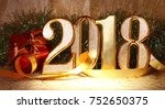 2018 gold numbers text and... | Shutterstock . vector #752650375