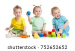funny children group playing... | Shutterstock . vector #752652652