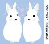 rabbit love heart | Shutterstock .eps vector #752679022