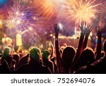 cheering crowd watching... | Shutterstock . vector #752694076