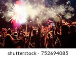 cheering crowd watching... | Shutterstock . vector #752694085
