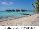 tropical sandy beach with... | Shutterstock . vector #752700376