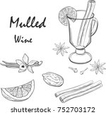 mulled wine and spices  orange  ... | Shutterstock .eps vector #752703172