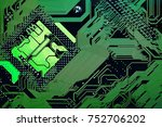circuit board. electronic... | Shutterstock . vector #752706202