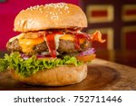 delicious organic burger with... | Shutterstock . vector #752711446