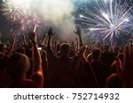 colorful fireworks and crowd... | Shutterstock . vector #752714932