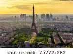 skyline of paris with eiffel... | Shutterstock . vector #752725282