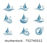 yachts and waves icons | Shutterstock .eps vector #752740312
