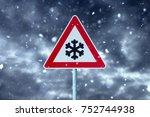 winter driving   snowfall on...   Shutterstock . vector #752744938