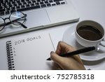 hand writing goal in 2018 | Shutterstock . vector #752785318