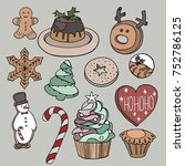 hand drawn christmas cookies... | Shutterstock .eps vector #752786125