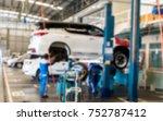 blurred of inside car garage... | Shutterstock . vector #752787412