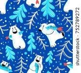 polar bears seamless pattern... | Shutterstock .eps vector #752789272