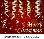 merry christmas on red... | Shutterstock . vector #752792662