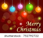 merry christmas on red... | Shutterstock . vector #752792722