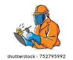 welding worker doing his work   ... | Shutterstock .eps vector #752795992