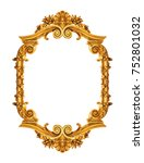 golden antique frame isolated... | Shutterstock . vector #752801032