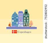 facades of cute european old... | Shutterstock .eps vector #752802952