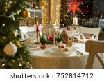 beautiful served table with... | Shutterstock . vector #752814712