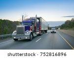 18 wheeler truck on highway | Shutterstock . vector #752816896