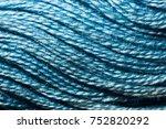 texture of blue yarn macro | Shutterstock . vector #752820292