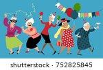 mature ladies celebrate... | Shutterstock .eps vector #752825845