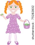 Vector of cute little girl with Flowers and Basket. - stock vector