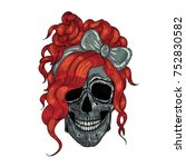 girls skull with red hair.... | Shutterstock .eps vector #752830582