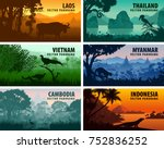 vector panorama of laos ... | Shutterstock .eps vector #752836252