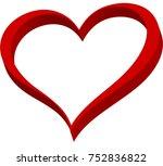 red heart valentine love logo... | Shutterstock .eps vector #752836822