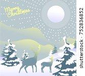 winter landscape with deers | Shutterstock .eps vector #752836852