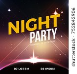 space night party banner vector.... | Shutterstock .eps vector #752842906