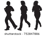woman athletes on running race... | Shutterstock .eps vector #752847886